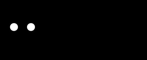 Grosser, schwarzer, kreisrunder Punkt mit zwei kleinen weissen Punkten die als Augen dienen. Rechts vom schwarzen Kopf eine senkrechte dünne Linie. Anschliessend sind die Wörter planen, einrichten gestalten, in einer rundlichen Schrift, übereinander und linksbündig an der senkrechten Linie angeordnet.