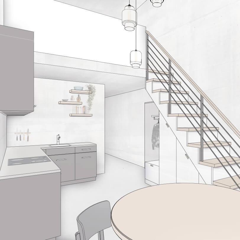 leicht kolorierte Perspektive einer L-Küche. Im Vordergrund ein runder Esstisch aus Eichenholz von Horgenglarus, gegenüberliegend eine Treppe, die zu einer Galerie im Obergeschoss führt.