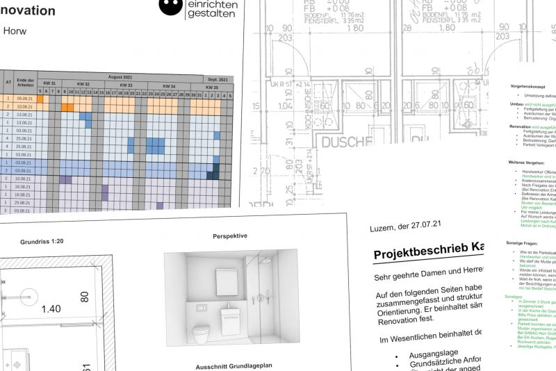 Abbildung mit verschiedenen Ausschnitten von erarbeiteten Dokumenten: Terminprogramm; Variante für Badezimmer; Projektbeschrieb; Protokoll; Bestandesplan