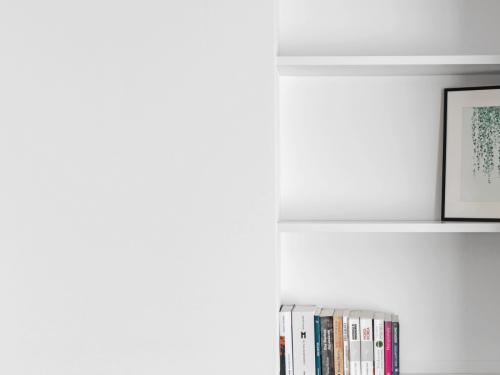 Bildausschnitt des neuen Regals mit vier Tablaren. Alles in Weiss gehalten. Auf den untersten beiden Etagen befinden sich 6 bzw. 11 Bücher. Auf der dritten Etage steht ein Bild einer Hängepflanze mit dunklem Rahmen, das oberste Tablar ist leer. Auf der linken Bildseite befindet sich die neue Wand.