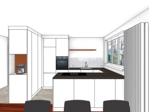 Kolorierte Perspektive von Wohnraum aus, Richtung Küchenbereich. Eine offene Küche steht im Zentrum des Bildes. Von links nach rechts geschaut, befindet sich ein, in den Wohnraum ragender, raumhoher Einbauschrank der ein offenes Fach für eine Kaffeemaschine. Diese Einbausituation wird als Raumtrenner zwischen Eingangsbereich und Küche genutzt. In den Raum blickend befindet sich eine zweiteilige, raumhohe Küchenfront mit Kühlschrank und Backofen. Rechts der beiden Hochschränke grenzt eine U-Förmige Küchenabdeckung. Die daraus entstandene Kochinsel steht parallel zum Wohnbereich und bildet der Abschluss der offenen Küche.