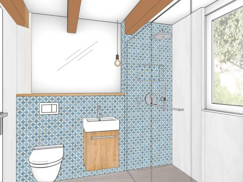 Farbige Perspektive des Gästebads. In der Frontansicht befindet sich eine halb hochgezogene Vorwand,zu drei Drittel der Raumlänge. Links befindet sich ein Unterputz WC und auf der rechten Seite der teilhohen Vorwand ist ein rechteckiges Handwaschbecken mit Unterbauschrank platziert. Über der teilhohen Vorwand ist ein raumhoher Spiegel montiert. Rechts im Raum ist eine bodeneben Dusche angegliedert mit einer Regenbrause und einer Nische für Duschmittel. Abgetrennt wird die Dusche mittels Glastrennwand die auf die komplette Breite des Raumes montiert ist. Ganz rechts und in der Dusche, befindet sich zudem noch ein Fenster. Die Vorwand und die Rückwand in der Dusche ist mit quadratischen blauen Platten belegt. Das Unterbaumöbel und die Ablagefläche sind eichenfarbig gehalten.