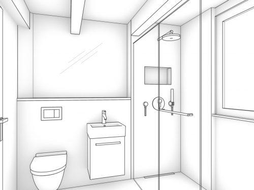 Gezeichnete und schlicht gehaltene Perspektive, des Gästebads in Graustufen dargestellt. In der Frontansicht befindet sich eine halb hochgezogene Vorwand,zu drei Drittel der Raumlänge. Links befindet sich ein Unterputz WC und auf der rechten Seite der teilhohen Vorwand ist ein rechteckiges Handwaschbecken mit Unterbauschrank platziert. Über der teil hohen Vorwand ist ein Raumhoher Spiegel montiert. Rechts im Raum ist eine bodeneben Dusche angegliedert mit einer Regenbrause und einer Nische für Duschmittel. Abgetrennt wird die Dusche mittels Glastrennwand die auf die komplette Breite des Raumes montiert ist. Ganz rechts und in der Dusche, befindet sich zudem noch ein Fenster.