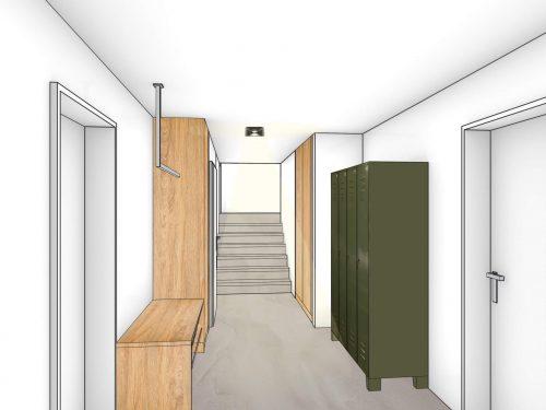 Farbige Perspektive des Eingangsbereichs. Auf der linken Seite befindet sich eine offen gestaltete Garderobe mit einer Kleiderstange, die im vorderen Bereich an der Decke montiert ist. Darunter befindet sich eine kniehohe, eichenfarbige Komposition mit Schuhgitter. Gegenüberliegend auf der rechten Seite befindet sich ein alter grüner, viertüriger Spind. Weiter über die rechte Seite ist ein eichenfarbiger Einbauschrank, eingepasst in eine Nische zu erkennen. Am Ende des Raumes befindet sich eine Treppe mit sieben Stufen, die auf ein Zwischenpodest führt.
