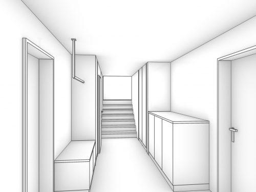 Gezeichnete und schlicht gehaltene Perspektive, des Eingangsbereichs in Graustufen dargestellt. Auf der linken Seite befindet sich eine offen gestaltete Garderobe mit einer Kleiderstange, die im vorderen Bereich an der Decke montiert ist. Darunter befindet sich eine kniehohe Komposition mit zwei Auszugschschubladen. Gegenüberliegend auf der rechten Seite befindet sich eine teil hohes Sideboard mit drei Türen. Weiter über die rechte Seite ist ein Einbauschrank, eingepasst in eine Nische zu erkennen. Am Ende des Raumes befindet sich eine Treppe mit sieben Stufen, die auf ein Zwischenpodest führt.