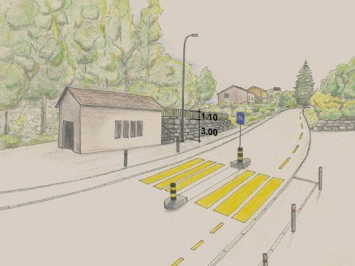 Visualisierung (handgezeichnet) einer ansteigenden Strasse in der Gemeinde Ebikon. Auf der linken Strassenseite eine überdachte Einzelgarage die als Geräteschuppen der Gemeinde dient. Angrenzend eine 1.5 Meter hohe Blocksteinmauer. Über die Strasse führt ein Fussgängerstreifen mit einer Fussgängerinsel.