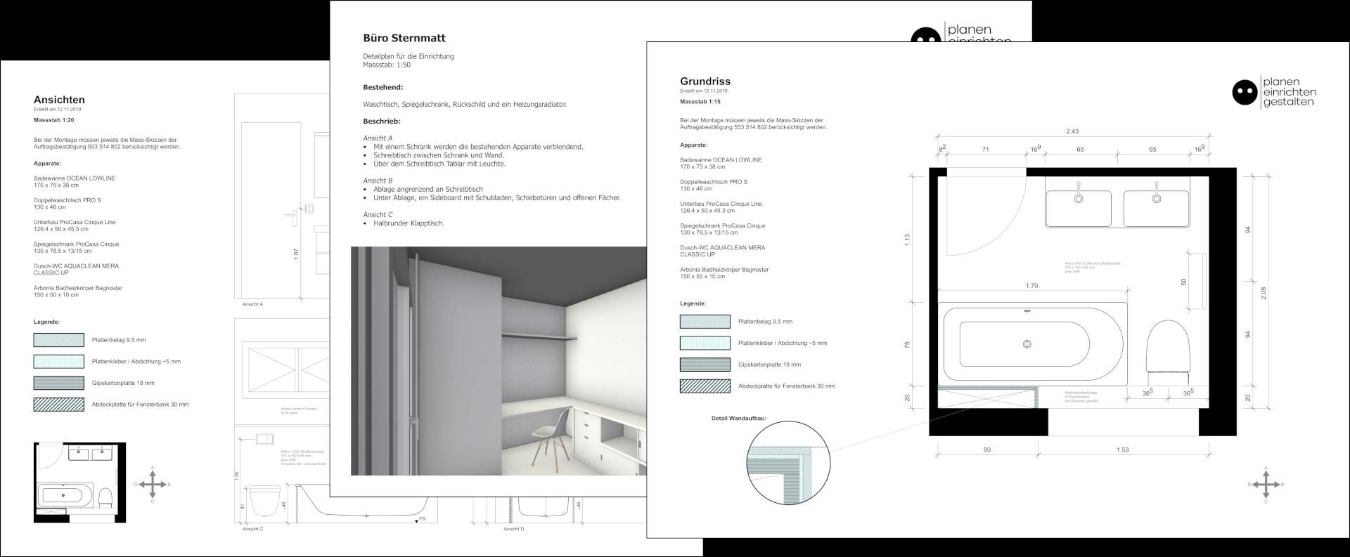 Übereinandergelegte Ausschnitte von drei verschiedenen Detailplänen (Grundrisse, Visualisierung und Ansichten) der planen einrichten gestalten gmbh.
