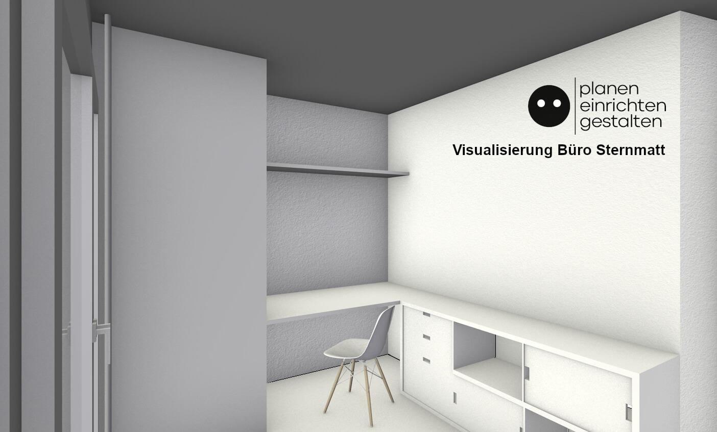 Visualisierung des neuen Büros. Die Ansicht zeigt auf der linken Seite den neuen Raumhohen Schrank, in der Mitte die Arbeitsfläche und den Vitra Eames Stuhl und auf der rechten Seite das neue Regal mit Schubladen und verschiebbaren Verblendungen.