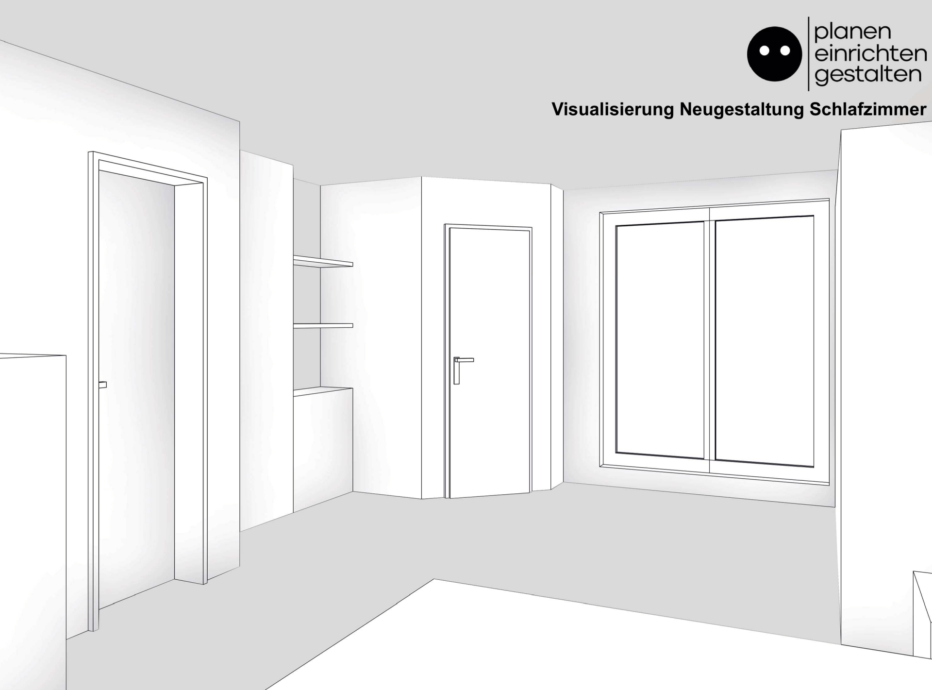 Ausschnitt der Visualisierung für die neue Wand, mit Tür und Regal. Im linken Bildbereich erennt man die neue Tür, welche die bestehende Schiebetür ersetzt.