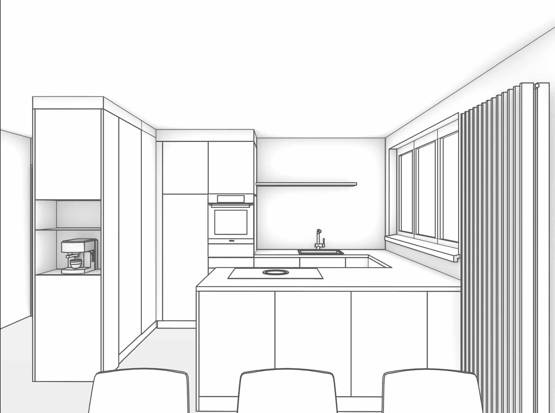 Schwarz/Weiss gehaltene Perspektive von Wohnraum aus, Richtung Küchenbereich. Eine offene Küche steht im Zentrum des Bildes. Von links nach rechts geschaut, befindet sich ein, in den Wohnraum ragender, raumhoher Einbauschrank der ein offenes Fach für eine Kaffeemaschine. Diese Einbausituation wird als Raumtrenner zwischen Eingangsbereich und Küche genutzt. In den Raum blickend befindet sich eine zweiteilige, raumhohe Küchenfront mit Kühlschrank und Backofen. Rechts der beiden Hochschränke grenzt eine U-Förmige Küchenabdeckung. Die daraus entstandene Kochinsel steht parallel zum Wohnbereich und bildet der Abschluss der offenen Küche.