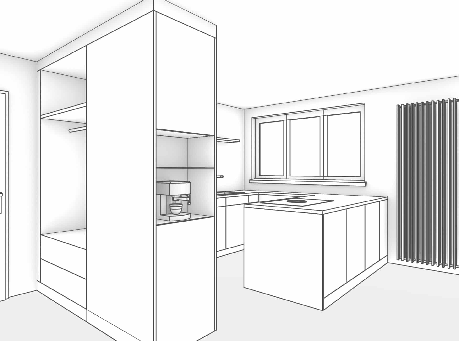 Schwarz/Weiss gehaltene Perspektive. Links wird der Eingangsbereich mit der raumhohen Garderobe gezeigt. Die Garderobe ist der Länge nach in den Raum gestellt und wird als Raumtrenner zwischen Eingangsbereich und Küche genutzt. Am Stirnende der Garderobe befindet sich eine Kaffeenische. Weiter wird die offen gestaltete Küche gezeigt mit einer Kochinsel die parallel zum Wohnraum platziert wurde.